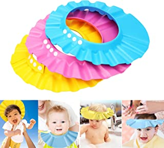 SunTrade Safe Shampoo Shower Bathing Protection Bath Cap Soft Adjustable Visor Hat for Toddler, Baby, Kids, Children,Set of 3
