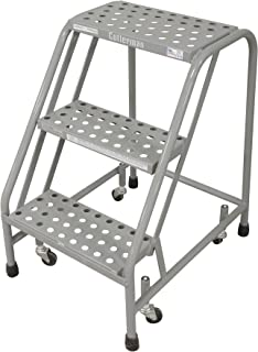 Cotterman 1003N1820A6E10B3C1P1 All Welded Ready to Use Rolling Steel Safety Ladder, 3-Step, 30
