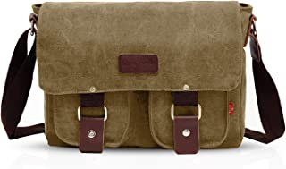FANDARE Neu Retro Messenger Bag Umhängetasche Schultertasche 14 Zoll Laptoprucksäcke Herren Tasche Kuriertasche Multifunktions Canvas Braun