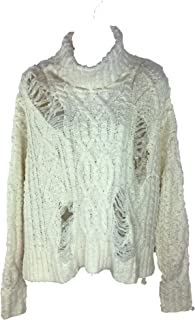 RD Style Women's Distressed Cable Knit Turtleneck Sweater, Winter White