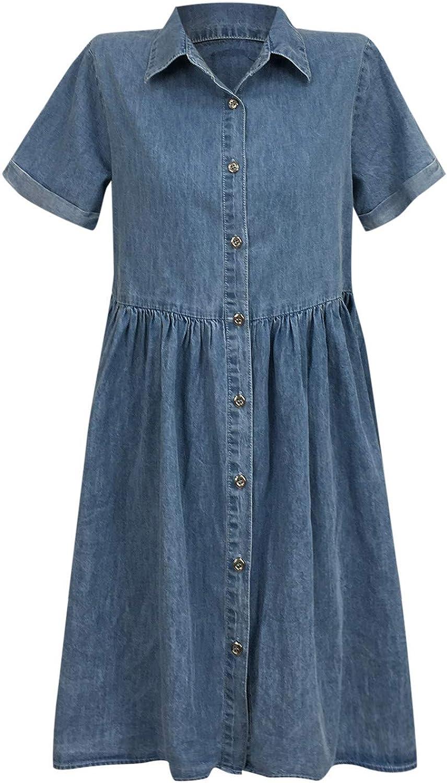 SineMine Women Denim Shirt Dress Short Sleeve Distressed Jean Dress Button Down Casual Tunic Top Casual Mini Dress