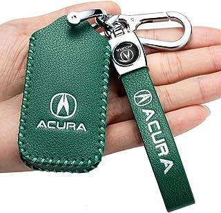 Genuine Acura TLX Logo Carbon Fiber Look Rectangular Key Ring Keychain Fob BLUE