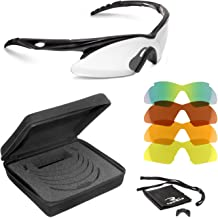 Radians Shift Interchange Shooting Glasses (5 Interchangeable Lenses), Black Frame/Clear, Copper, Amber, Orange, One Size