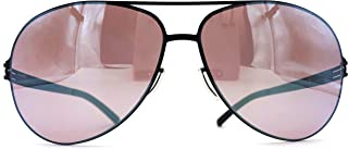 ic! berlin Raf S, Golf Collection, Photochromic Performance Lenses, Stainless Steel Unbreakable Frame in Black with Copper Mirrored Lenses