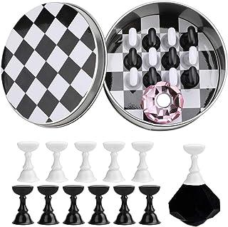 JMEOWIO Nail Art Tips Holder Practice Display Stand - Magnetic Stuck Crystal Nail Art Holder, Chessboard Nail Art Display ...