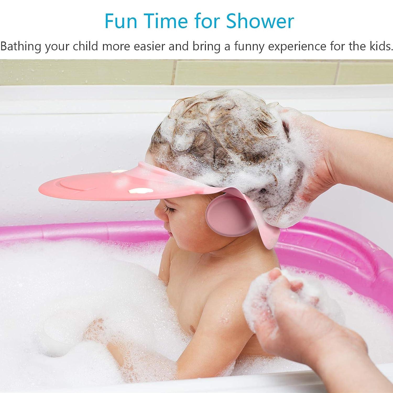Baby Shower Cap KATOOM Shampoo Shower Cap Bathing Protector Wash Hair Shield Adjustable Visor Hat with Ear Protection for Toddler Kids Children