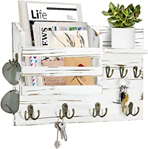 Wall Mounted Mail and Key Holder and Mail Slot, Wood Mail Organizer with Key Hooks, Wood Mail Holder and Sorter for Keys, Letters, Bills, Rustic Wall Mail Organizer and Storage for Entryway,White