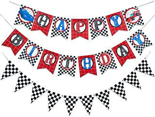 WERNNSAI Racing Car Happy Birthday Banner - Race Car Theme Party Supplies Birthday Party Decorations Checkered Hanging Wall Bunting Flags Pennant for Race Fans