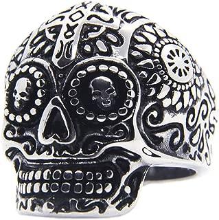 Gungneer Stainless Steel Women Men Gothic Punk Skull Skeleton Ring Halloween Jewelry Accessories