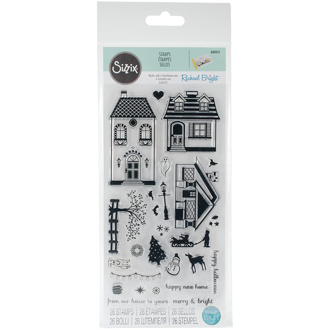 Sizzix Happy Home Clear Stamps by Rachael Bright,