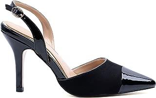 Greatonu Women High Heel Sling Back Pointy Toe Pump Black US 10