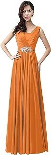 CladiyaDress Women Jewel Neck Sleeveless Chiffon Long Evening Dress Cocktail Gown D159LF