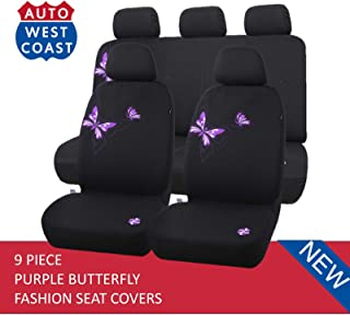 West Coast Auto Car Seat Covers Set for Cars, Trucks, Vans, SUV - Butterfly, Airbag Compatible (Polycloth) (Purple)