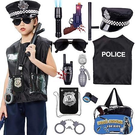 Tacobear Polizia Costume Bambino Polizia Vestito Accessori Distintivo Polizia Manette Polizia Gilet Cappello Walkie-Talkie Bastone Polizia Giocattolo Kit per Bambini Halloween Festa Carnevale