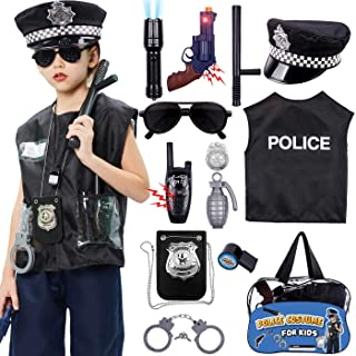 Police Costume for Kids Police Officer Role Play Toy Kit with Police Hat, Vest, Badge, Walkie Talkies, Flashlight Police A...