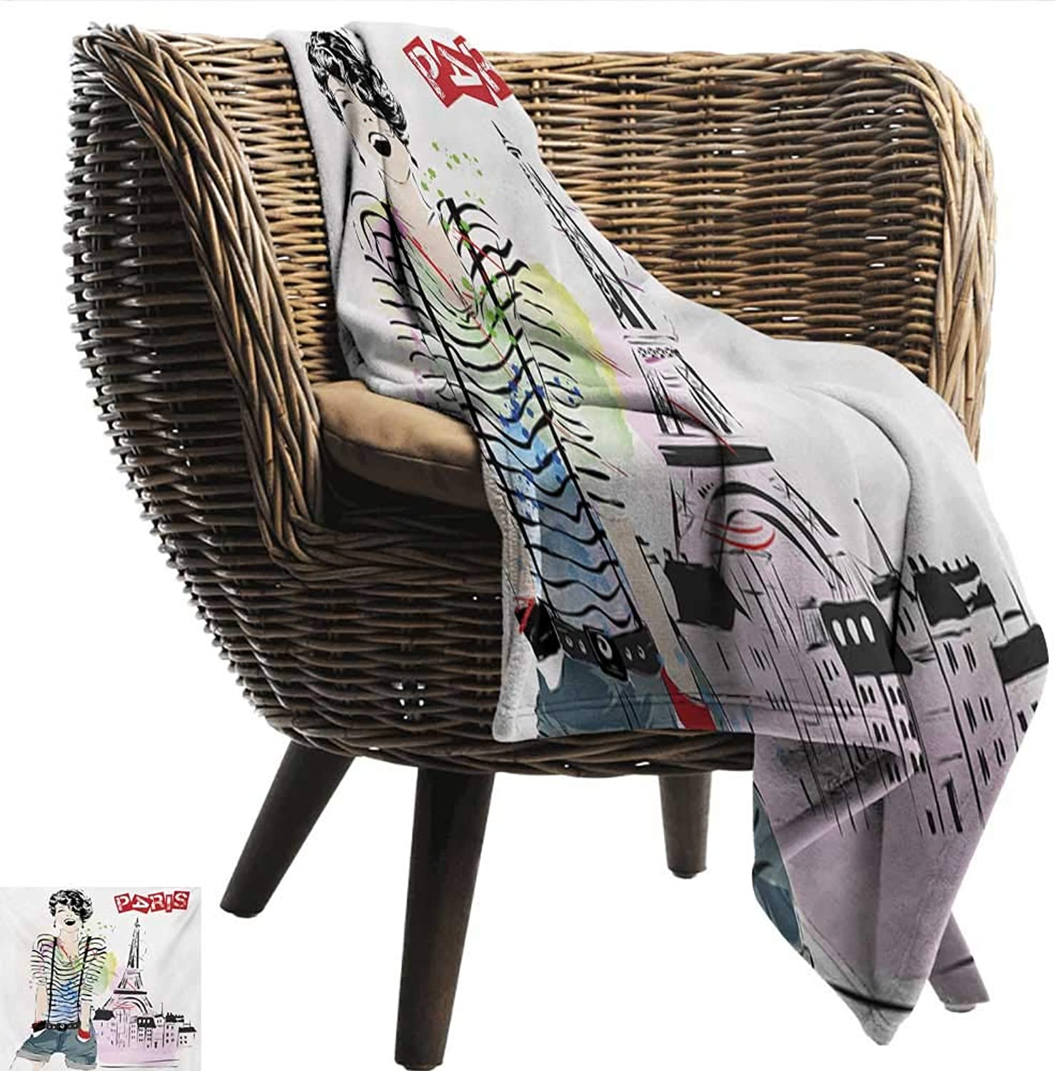 EwaskyOnline Eiffel Tower Couch Blanket Sketch of Fancy Laughing Girl in Front of Eiffel Tower Paris Happiness Stain Sofa Warm Bed 51  W x 60  L Multicolor