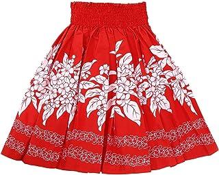 (ムームーママ)MuuMuuMama フラダンス レッスン シングル パウ スカート 4ヤード使用 丈72cm 4本ゴム プルメリア柄