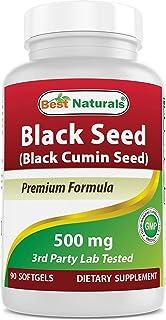 Best Naturals Black Seed Oil Capsules 500 mg 90 Count - Minimum 0.95% Thymoquinone per Black Cumin Seed Oil softgel