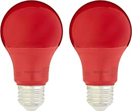 AmazonBasics 60 Watt Equivalent, Non-Dimmable, A19 LED Light Bulb | Red, 2-Pack