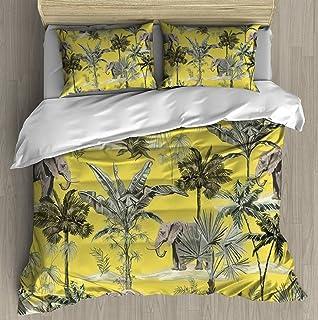 Soft Printed Bedding Set Tropical vintage botanical landscape palm trees plant palm leaves Duvet Cover Pillow Case Pattern...