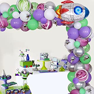 Buzz Birthday Lightyear Party Decorations Purple Green Balloon Garland Arch Kit with Rocket Foil Balloon Lightyear Party S...