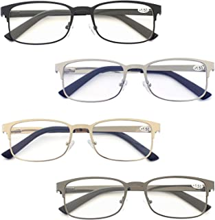 Zienstar Reading Glasses for Men 4 Pack Metal Rectangle Readers with Spring Hinges Comfort Stainless Steel Material Eyeglasses in Assorted Colors +1.25