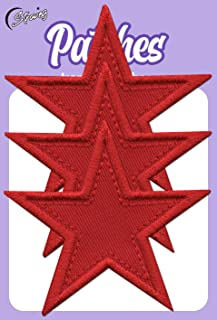 Iron On Patches - Red Star Patch Iron On 3 pcs Patch Embroidered Applique Star S-88