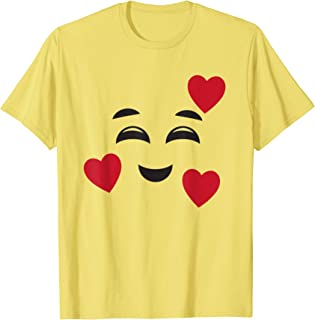 Funny Smiling Emojis Hearts Halloween Love Face Easy Costume T-Shirt