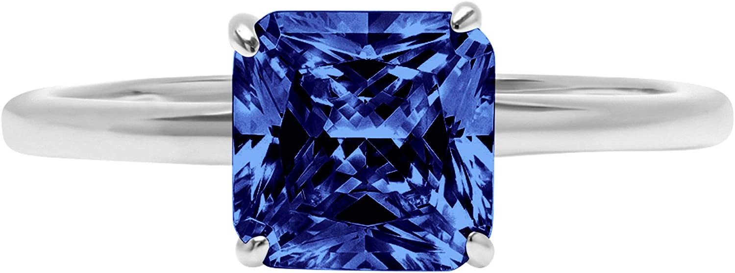 0.95 ct Brilliant Asscher Cut Solitaire Flawless Simulated CZ Blue Tanzanite Ideal VVS1 4-Prong Engagement Wedding Bridal Promise Anniversary Designer Ring Solid 14k White Gold for Women