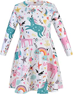 LIAOLI Girl's Casual Dress Kids Holiday Party A-Line Dresses 4-13 Years (Long Sleve Unicorn, X-Large:Age 10-13T)