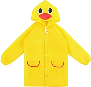 WSLCN Waterproof Coats Unisex Kids Poncho Hooded Rain Jacket Raincoat Windproof Cute Yellow Duck