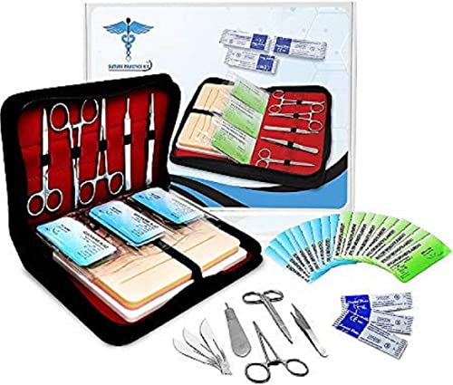 Suture Practice Kit w Suturing Guide E-Book,[Large Case Large Pad & Variety of Sutures w Slots] 4th Gen Pad, Tools Su...