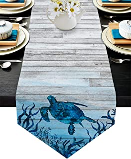 Infinidesign Ocean Theme Table Runner 14x72inch Protect The Table from Scratches and Stains, Table Runners for Party Holid...