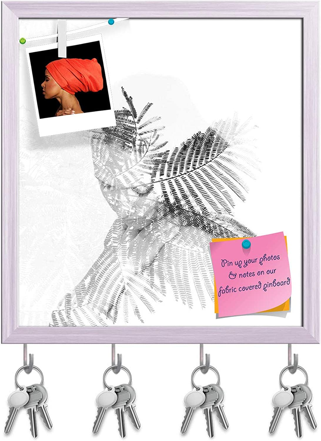 Artzfolio Flowers in The Beautiful Young Woman Key Holder Hooks   Notice Pin Board   White Frame 16 X 17.3Inch