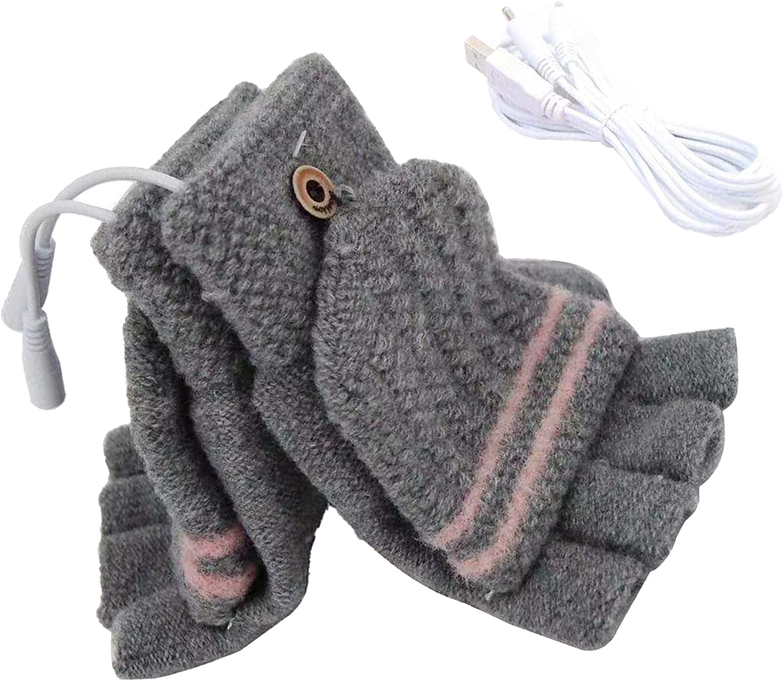 Yissone USB Heating Winter Gloves Half Fingerless USB Heated Mittens Winter Electric Heating Warm Sports Gloves Mitten