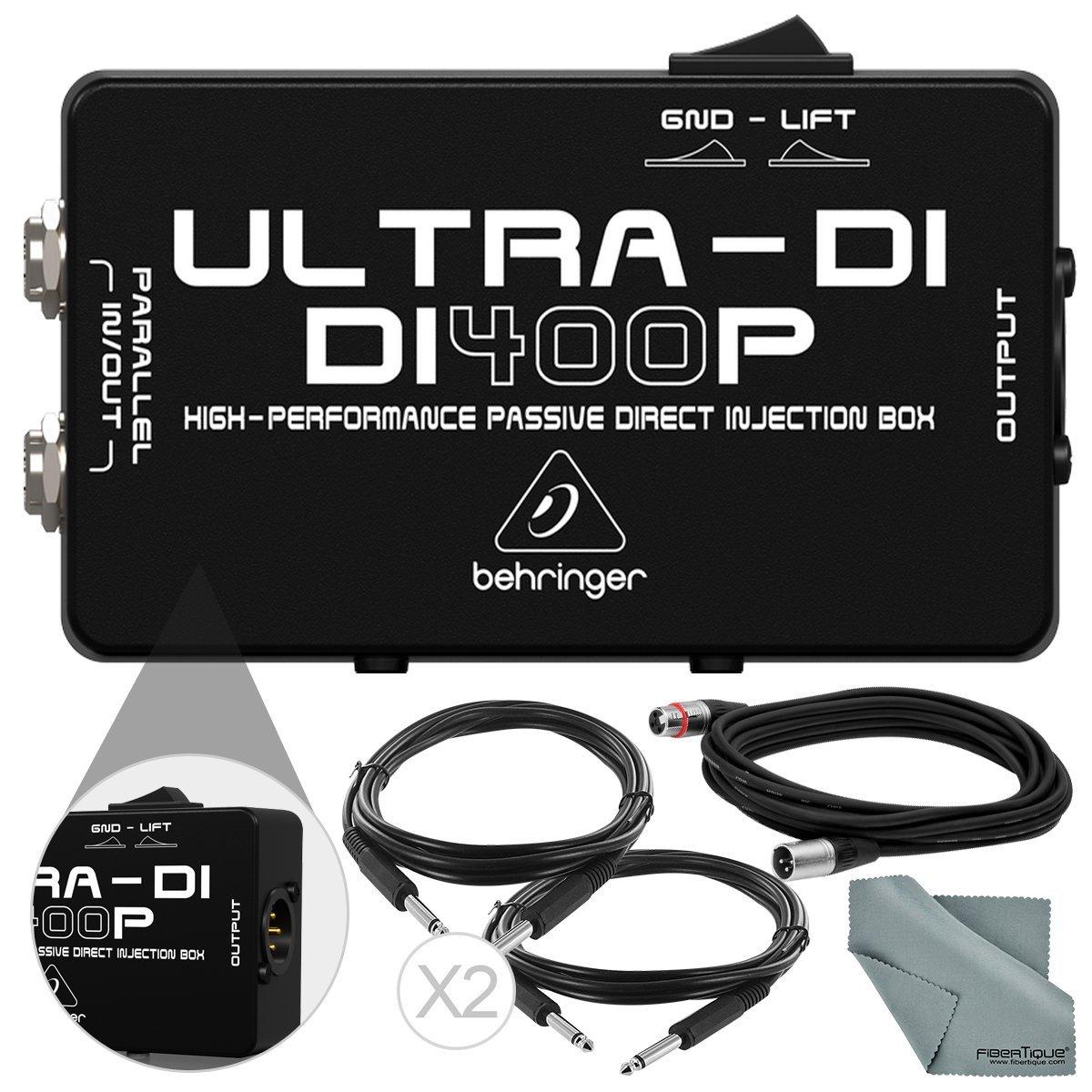 Behringer di400p ULTRA-DI pasivo Direct caja & accesorios Bundle w/XLR Cable, 2 x 1/4