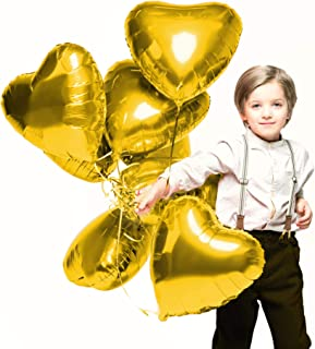 Valentines Day Heart Love Decorations in Gold Foil Mylar Balloons for Birthday Bridal Shower Wedding Engagement Party Graduation Supplies (12 Pack)