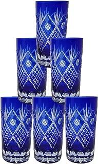 Set of 6 Exquisite Bohemian Crystal Style Cut Czech Drinking Rock Glass Cups Tumbler Set for Cocktails, Whiskey, Bourbon, Scotch,Beverage-Cobalt Blue, 8 oz.
