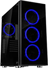Rosewill ATX Mid Tower Gaming PC Computer Case 3 Sided Tempered Glass Dual Ring Blue LED Fans Great Cable Management/Airfl...