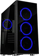 Rosewill ATX Mid Tower Gaming PC Computer Case 3 Sided Tempered Glass Dual Ring Blue LED Fans Great Cable Management/Airflow - CULLINAN V500 Blue