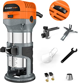 Enertwist 7.0-Amp 1.25 HP Wood Router Tool Kit, Fixed Base, Soft Start, Electronic Variable Speed w/ 1/4