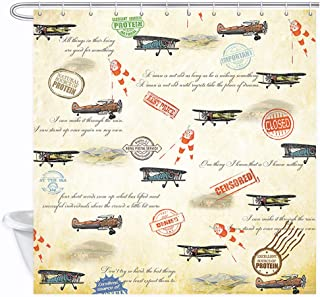 DYNH Vintage Airplane Shower Curtain, Retro Plane Aircraft Fighter Wind Vane and Passport Stamps Cities Bath Curtains, Waterproof Fabric Bathroom Accessories 12PCS Hooks, 69X70IN