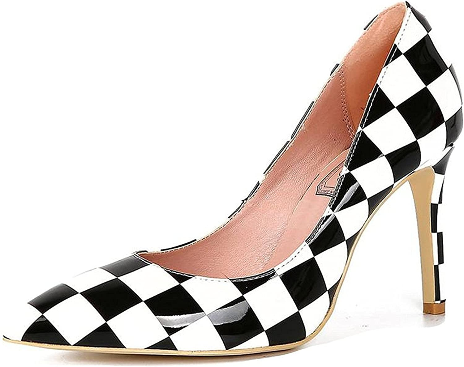 Davikey Womens Geometric Pattern Dress Stiletto Heels Chess Pump