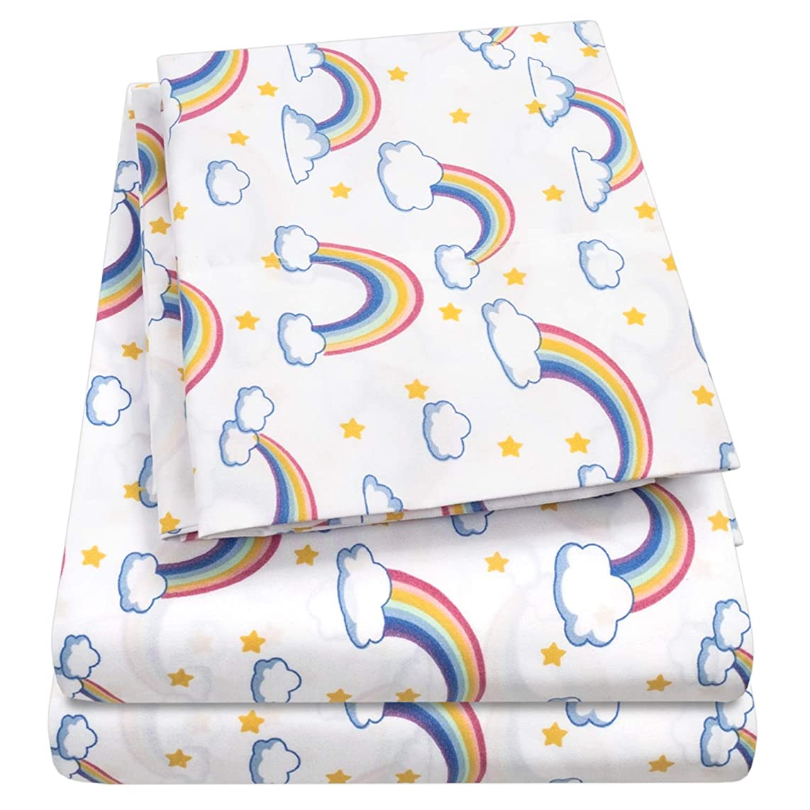 1500 Supreme Kids Bed Sheet Collection - Fun Colorful and Comfortable Boys and Girls Toddler Sheet Sets - Deep Pocket Wrinkle Free Hypoallergenic Soft and Cozy Bedding - Twin, Rainbows
