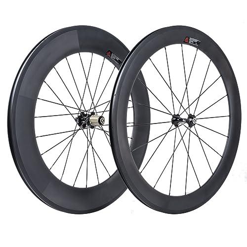 VCYCLE 700C Carretera Bicicleta Carbono Juego de Ruedas Delantera 60mm Trasero 88mm Remachador 23mm Anchura Shimano