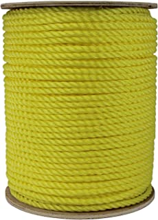 ATERET 1/4 Inch by 600 Feet Twisted 3-Strand Yellow Polypropylene Rope I 1,125 lbs. Tensile Strength I Lightweight & Heav...