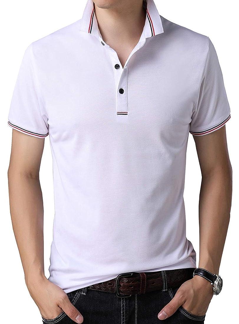 間に合わせ艶味[ Smaids x Smile (スマイズ スマイル) ] ポロシャツ 半袖 Tシャツ ゴルフウェア ドライ 襟 ライン 無地 男性 メンズ
