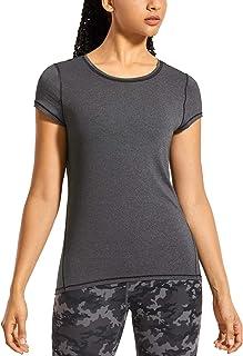 CRZ YOGA Women's Lightweight Heather Sports T-Shirt Activewear Running Workout Short Sleeve Shirts