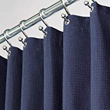 (72 x 72, Navy) - mDesign Hotel Quality Polyester/Cotton Blend Fabric Shower Curtain with Waffle Weave and Rust-Resistant ...