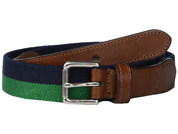 Polo Ralph Lauren 34mm Braid Fabric Stretch Belt (Navy/Green) Men